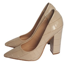 Brian Atwood Leather Heels Stiletto Crocodile Beige Pumps