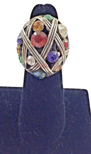 Brighton Brighton Multi Color Rhinestone Silver Tone Ring 14
