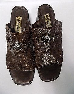 Brighton Woven Leather Brown Mules