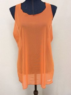 Brooks Brooks Womens Orange Mesh Athletic Tank Top