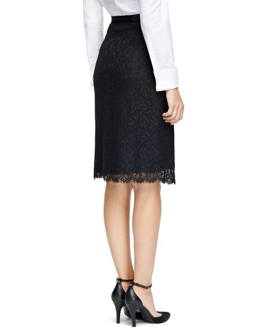 Brooks Brothers Lace Pencil Suit Fully Lined Cotton Nylon Woven Italian Grosgain Imported Skirt Black