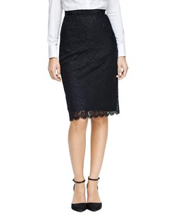 Brooks Brothers Lace Pencil Suit Fully Lined Nylon Woven Italian Grosgain Imported Skirt Black