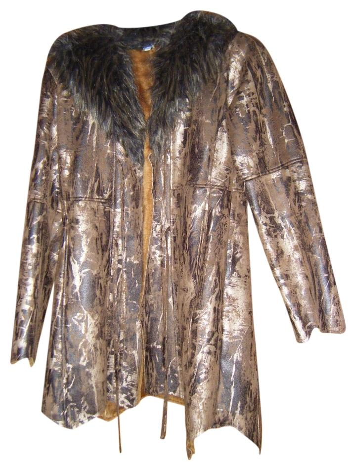 Brown and Gold Faux Fur  and leather Coat