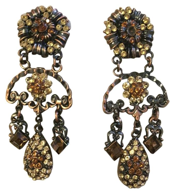 Brown and gold statement earrings