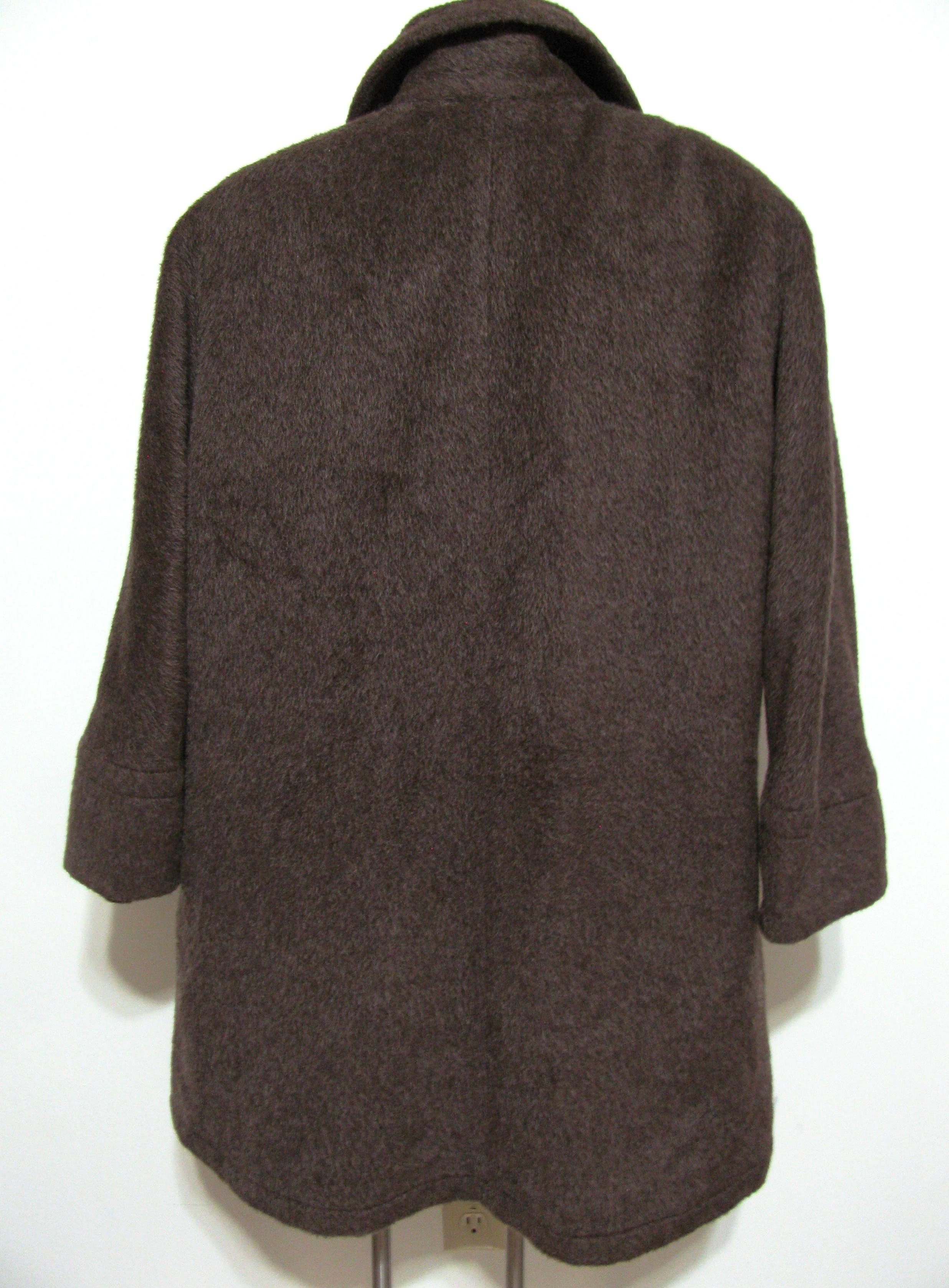 Brown Italy Alpaca Wool Pea Coat Size 10 M Tradesy