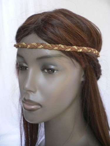 80s style hair browns elastic gold chain jewelry 80s fashion 3002