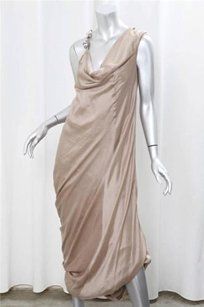 Brunello Cucinelli Taupe Silk Beaded Gathered Drape Gown Dress