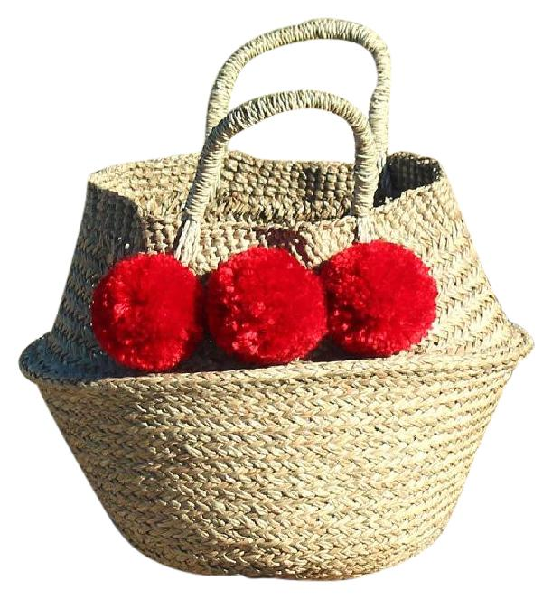 Pompom Beach Imported From Bali Red Beach Bag 32% Off #20722972 ...
