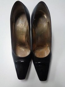 Bruno Magli Leather Squared Toe Heels W Patent Leather Aaaa B3206 Black Pumps