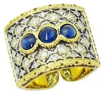BUCCELLATI Buccellati 18k Yellow White Gold 1.93tcw Diamond Sapphire Open Back Ring