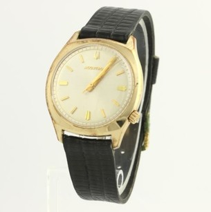 Bulova Bulova Accutron Wristwatch 10k Gold Plated Black Leather Band Watch Parts Repair