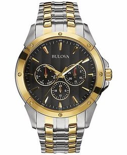 Bulova Bulova Mens 98c120 Sport Chrono Display Japanese Quartz Two Tone Watch 19dc