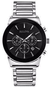 Bulova Bulova Mens Silver White 96b203 Black Face Chronograph Dress Watch 19dc