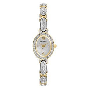 Bulova Ladies New Silver and Gold Tone Crystal-Accented Watch