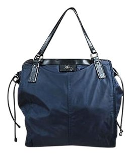 Burberry Navy Nylon Black Cow Tote in Blue
