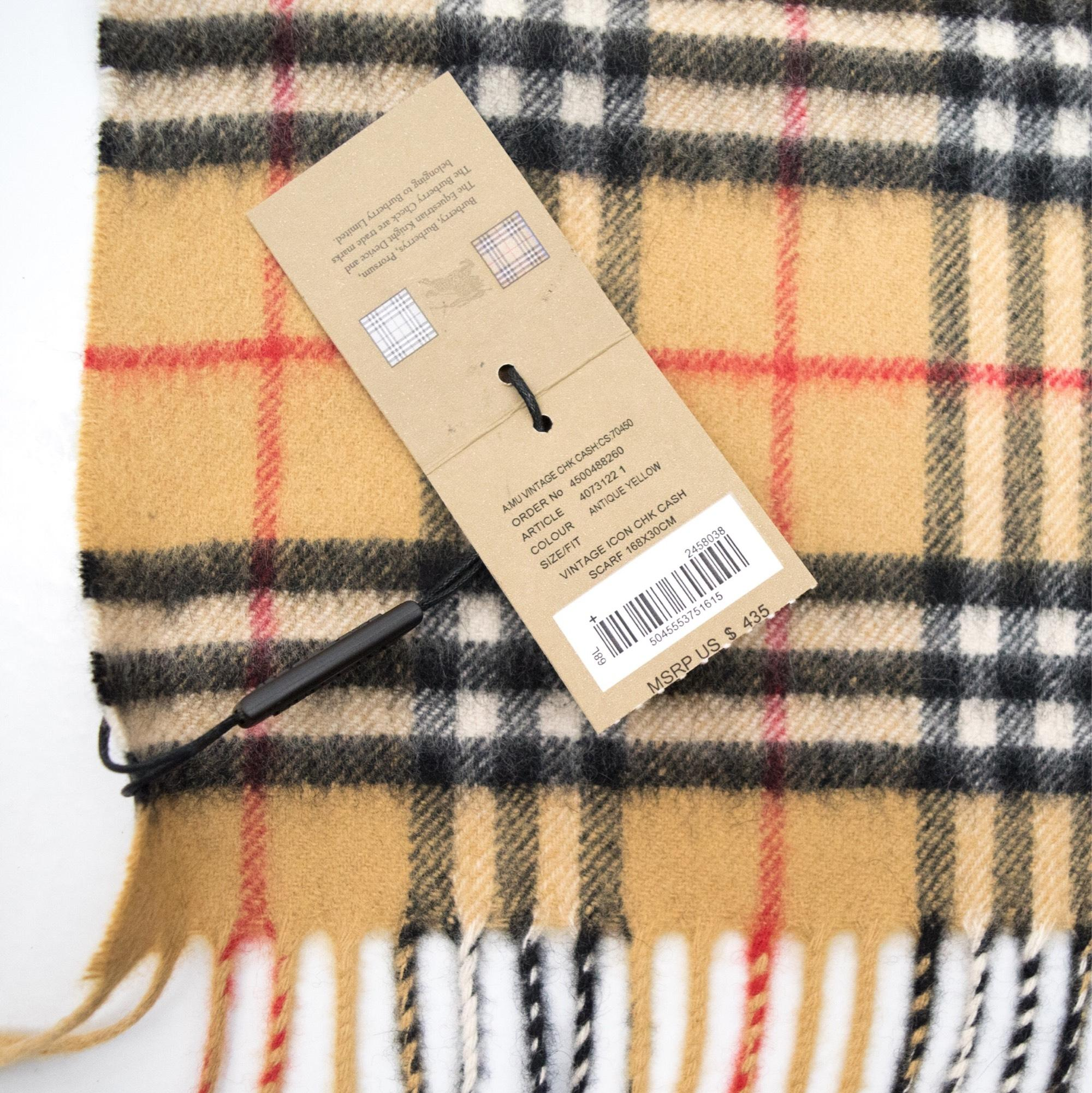 antique yellow vintage check cashmere scarf Burberry CUjywZ