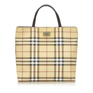 Burberry Beige Brown Leather Tote