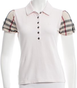 Burberry Nova Check Plaid Monogram T Shirt Beige, Pink