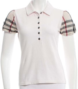Burberry Nova Check Plaid Monogram Cotton Shortsleeve T Shirt Beige, Pink