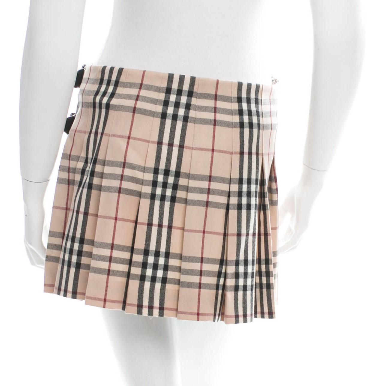 Burberry Multicolor Wool Nova Check Pleated Mini New 6 S Small Skirt