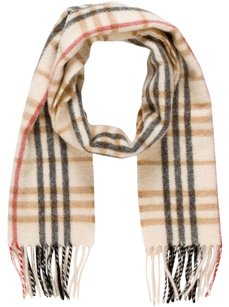 Burberry Black, beige, red Burberry Nova check plaid cashmere scarf