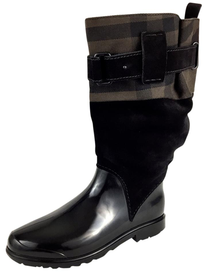 "Burberry Black Made In Italy Classic ""Holloway Canvas"" Nova Check Canvas Rain Boots/Booties Size EU 37 (Approx. US 7) Narrow (Aa, N)"