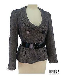 Burberry Burberry Double Breasted Belted Jacket Navy Cream