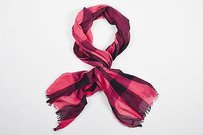 Burberry Burberry Pink Black Plaid Fringe Scarf