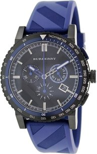 Burberry Burberry The City Sport Chronograph Black Check Stamped Dial Navy Rubber Mens Watch BU9807