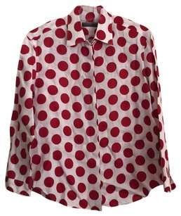 Burberry Button Down Shirt White, red