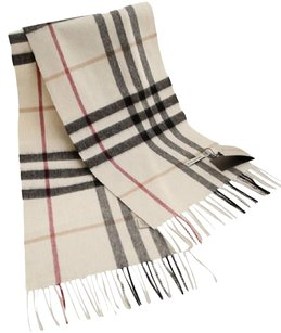 Burberry Cashmere Giant Check Plaid Muffler Cream Ivory White