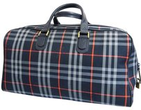 Burberry Duffle Blue Red Check Plaid Tartan Travel Bag
