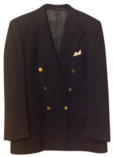 Burberry Gold Tone Buttons 19 1/2 100%pure Wool Dark blue Blazer