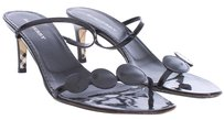 Burberry Heels Checkhouse Stilleto Women Patent Leather Black Sandals