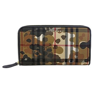 Burberry Horseferry Check and Camouflage Ziparound Wallet - Honey/Black