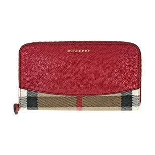 Burberry House Check Sartorial Leather Wallet - Military Red