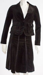 Burberry London Burberry London Brown 100 Cotton Velvet 2pc Pleated Skirt Suit Hs2738