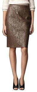 Burberry Leather Lace Skirt Taupe