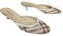 Burberry Brown Blue Nova Check Slip On Kitten Heel B3310 Pink Mules