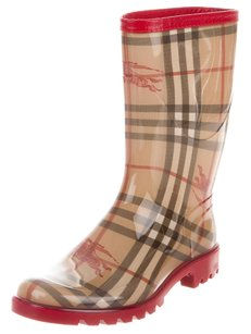 Burberry Plaid Nova Check Monogram Haymarket Round Toe Beige, Black, Red Boots