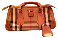 Burberry Prorsum Satchel in Housecheck with Tobacco Leather