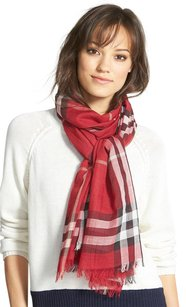 Burberry Rectangular CHECK WOOL AND SILK SCARF Parade Red Check