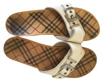 Burberry Leather Wooden Sandals White Mules