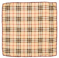 Burberry Tan, black multicolor Nova check Burberry silk pocket square scarf New
