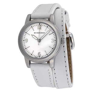Burberry Utilitarian White Dial White Leather Ladies Watch BU7846