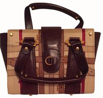 Burberry Vintage Silk Fabric Satchel in Browns