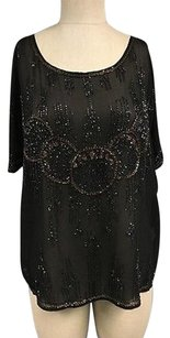 Burning Torch Black Gold Silk Top Multi-Color
