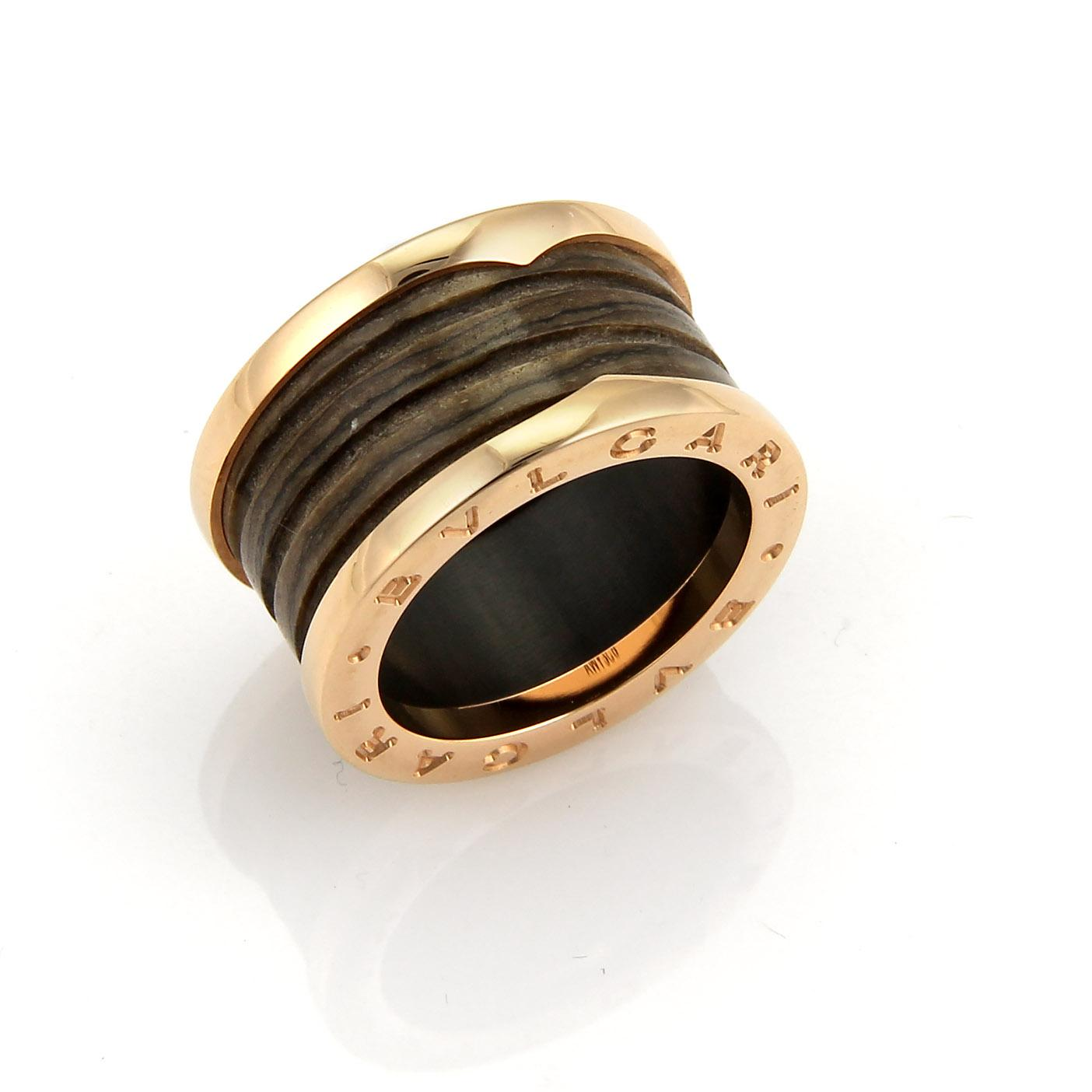 bvlgari bvlgari bzero1 brown marble 18k rose gold band ring