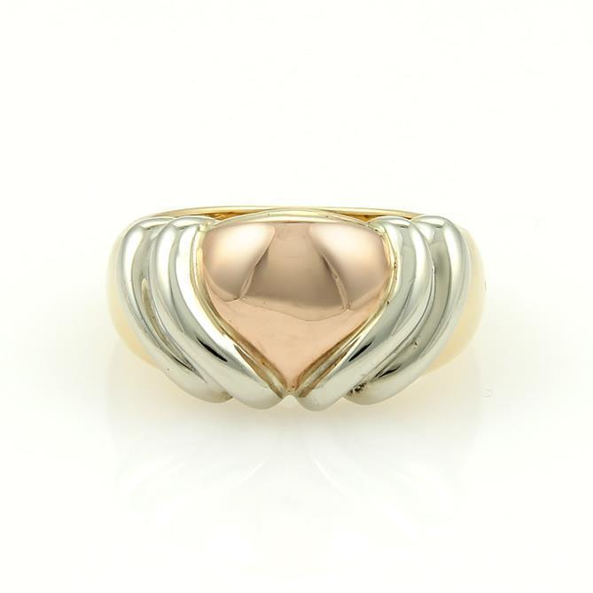 bvlgari bulgari 18k yellow white u0026 rose gold heart ring