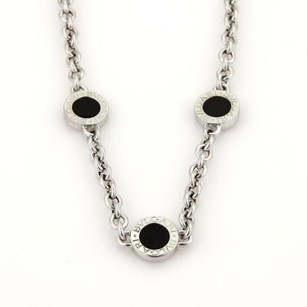 BVLGARI Bulgari Bvlgari 18k White Gold Black Onyx Station Logo Necklace